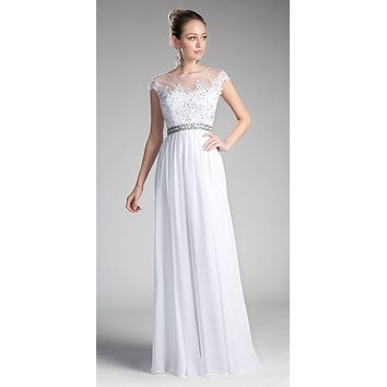 White Cap Sleeved Long Formal Dress Illusion with Appliques