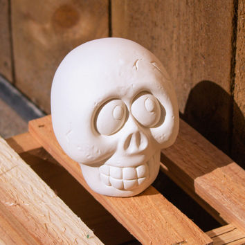 "Cute Spooky Skull 3.2"" Ready to Paint Ceramic Bisque"