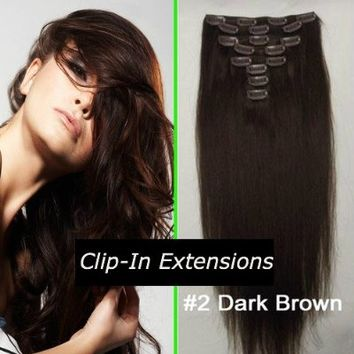 Straight Remy Human Hair Extensions 24 Colors for Your Choose in 15inch ,18inch ,20inch ,22inch ,Beauty Salon Women's Accessories (18inch 70g, #02 dark brown)