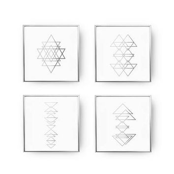 SET of 4 Prints, Triangles Poster Set, Abstract Poster, Geometric Print, Real Gold Foil Print, Minimalist Poster, Modern Wall Print,