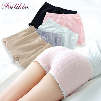 New Womens Panties Seamless Anti Emptied Underwear Girl Briefs Lady Slimming Plus Size Lace Crochet Safety Short Pants