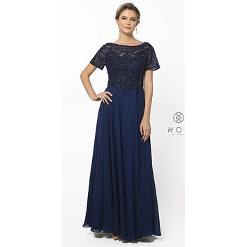 Short Sleeves Embroidered Long Formal Dress Navy Blue