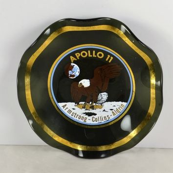 Glass Trinket Dish Apollo 11 Moon Landing Armstrong Collins Aldrin Space Souvenir The Eagle Has Landed Gold Trim NASA HTF