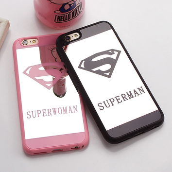 Luxury Superman Superwoman Mirror Surface TPU Case For iPhone 7 7 Plus Chrome Back Cover  For  6s 6 Plus 5 5s Cases Coque Fundas