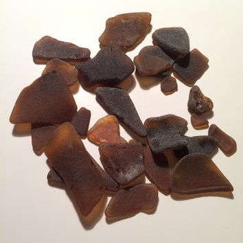 25 pieces of brown authentic sea glass lot beach glass bulk jewelry supply craft natural art beach found glass texas beach tumbled ocean