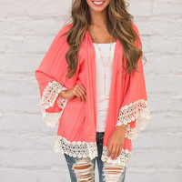 Contrast Lace Paneled Open Front Cardigan