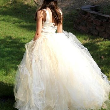 Tutu Dress, IVORY with a hint of GOLD, Flower Girl Tutu Dress