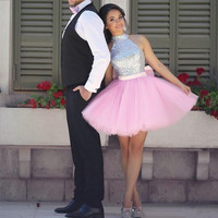 Custom Made New Tulle 2017 Sparkly Sequins Halter Homecoming Dresses Pink Tulle Short Party Dresses Lovely Engagement Prom Gowns