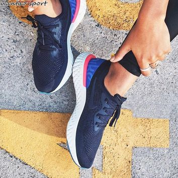 Nike Epic React Flyknit AQ0067 Summer Fashion Men And Women Running shoes Sneakers B-A-XYCL Navy Blue+Back blue