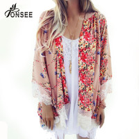 6 color autumn hot fashion women lace kimono cardigan womens bohemian tops floral blusas plus size Tonsee ropa mujer #N