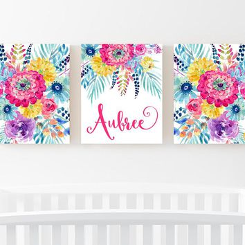 WATERCOLOR Floral Wall Art, Watercolor Nursery Art, Watercolor Monogram Decor, Girl Nursery Decor, Floral Artwork, Set of 3 Canvas or Print