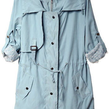 Lace Lining Hooded Blue Trench Coats [NCSOU0045] - $89.99 :