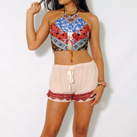 (amh) Tribal flowers halter crop top