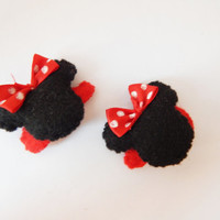 Minnie Mouse hair clip, hair accessories, mouse ears, girl hair barrette, cartoon character felt snap clips assessories