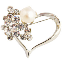 New Fashion White Brooch Pearl Jewelry Heart Shaped Brooch Delicate Brooch Princess Jewelry