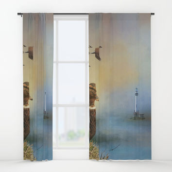 Lighthouse In Time Window Curtains by Theresa Campbell D'August Art