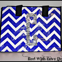 Soft-Sided Small Cooler Tote Custom Monogram Personalized Insulated, Chevron Market Eco-Tote Custom Boutique Monogram Vinyl Personalized