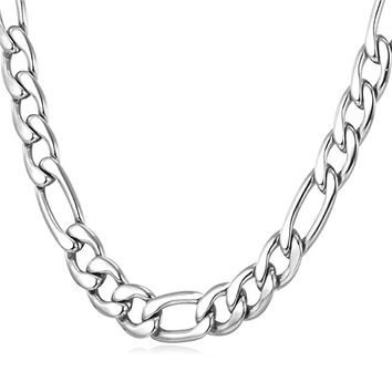 "9MM Men Necklace Stainless Steel Figaro Chain  [18"", 22"", 26"", 28"", 30""]"