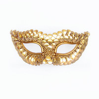 Gold Masquerade Mask With Fish Scales Texture -  Metallic Venetian Mask Decorated With Gold Flake Beads