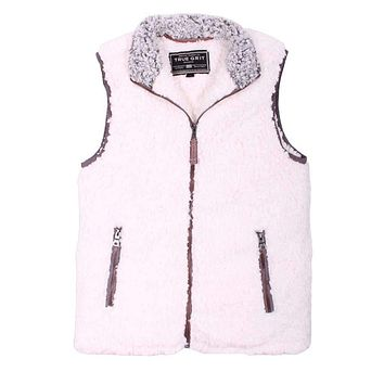 Frosty Tipped Double Up Vest in Ivory by True Grit