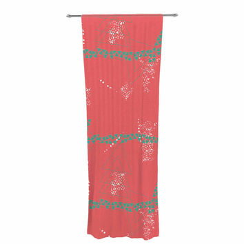 "Love Midge ""Bold Geometric"" Coral Aqua Decorative Sheer Curtain"