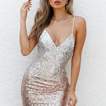 Lustre Dress (Rose Gold/Silver) | Xenia Boutique | Women's fashion for Less - Fast Shipping
