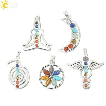 CSJA Chakras Natural Stone Pendant Angel Wings cho ku rei Health Amulet Fashion 7 Reiki Yoga Jewelry Necklace Pendants Gift E015