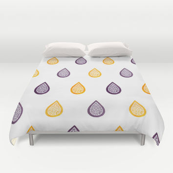 Yellow and purple raindrops Duvet Cover by Savousepate