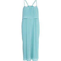 River Island Womens Light blue layered pleated slip dress