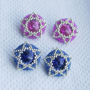Star Crystal Seed Bead Earrings Pink Stud Japanese Vintage Geometric Beaded Jewelry Beadwork Beadwoven Constellation Astronomy