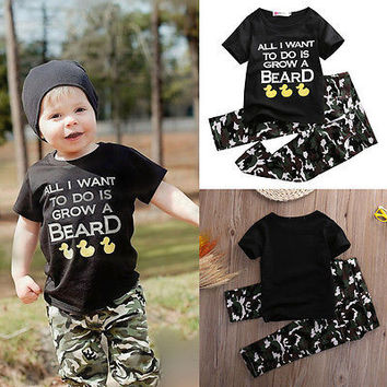 Sizes: 2T - 6/ Boys Toddler Cotton Camo Pants and Printed Tee Shirt