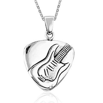 925 Sterling Silver Guitar Pick Rock and Roll Pendant Necklace, 18 inches