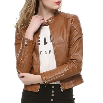2017 Fashion Women Elegant Zipper Faux Leather Biker Jacket in Brown Black Slim Ladies Coat Casual brand Motorcycle Leather Coat