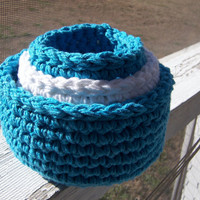 Crocheted Primitive Nesting Bowls Baskets Blue by TheCrochetLady1
