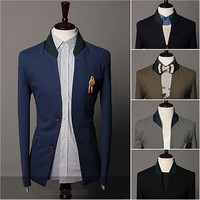 Two Buttons Contrast Collar Slim Fit Blazer
