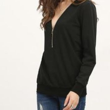 Zipper V-Neck Sweatshirt