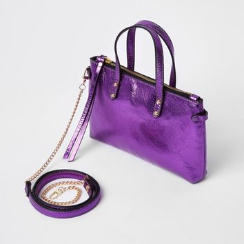 Purple metallic leather cross body chain bag - Cross Body Bags - Bags & Purses - women