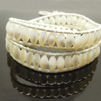 1PC Natural Shell Rice Beaded Two Layer Stacked Leather Bracelet Best Friend Bracelet, Birthday Gift
