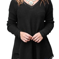 Black V Neck Waffle Knit Loose Sweater