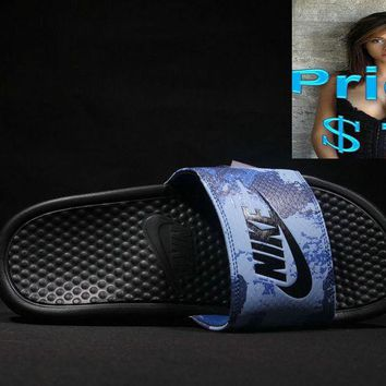 Purchase 2018 mens Nike Benassi Just Do It Slide 343880 blue-black shoes