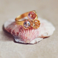 adjustable fashion ring blue topaz,lilac amethyst lemon citrine triple faceted stones golden fashion by YUNILIsmiles