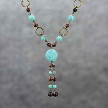 Turquoise long lariat necklace Bridesmaids gifts Free US Shipping handmade Anni Designs