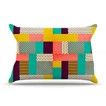 "Louise Machado ""Geometric Love"" Pattern Abstract Pillow Case"