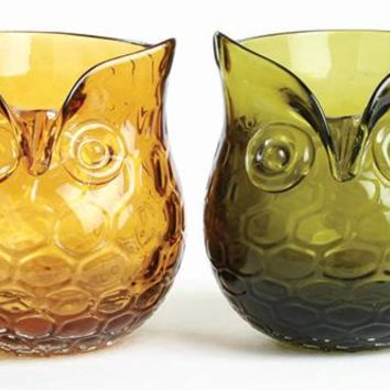 Owl Votive Holders - Set of 2 - Owl Candle Holder - Glass Votive Holders - Votive Holders - Votive Candle Holders | HomeDecorators.com