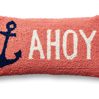 Ahoy Anchors 9x18 Wool Pillow, Coral