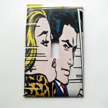 Light Switch Cover - Light Switch Plate Vintage Comic Book Art Couple
