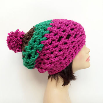 SALE & FREE Shipping - Slouchy Chunky Crochet Beanie, Pom Pom - Pink, Green, Brown