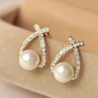 Gold Crystal Stud Earrings Pearl
