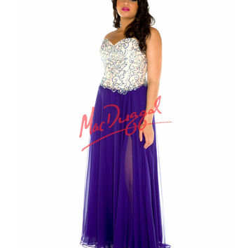 Strapless Sequin Bodice Purple Gown