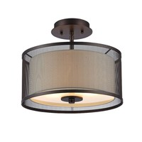 "AUDREY Transitional 2 Light Rubbed Bronze Semi-flush Ceiling Fixture 13"" Wide"